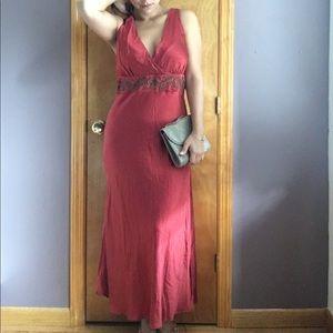 Silk bias maxi dress